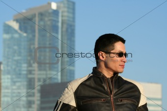 Male Model in Motorcycle Jacket