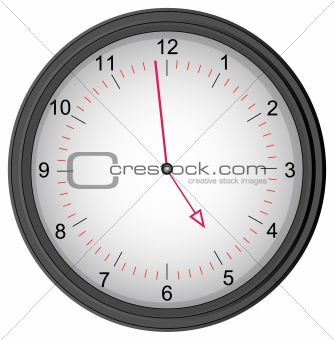 clock showing one minute to five