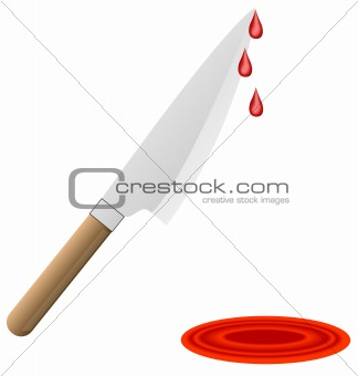 butcher knife with blood drips