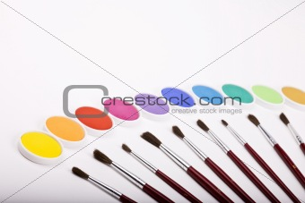 Water-color box with brushes