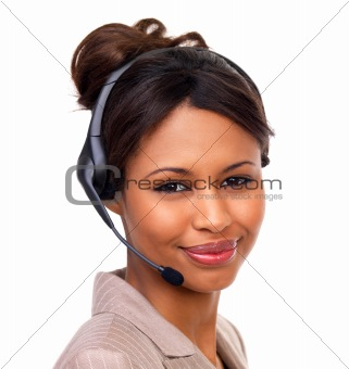 Beautiful woman wearing headset