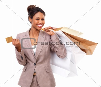 Isolated business woman shopping