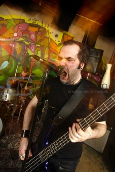 Aggressive bass player