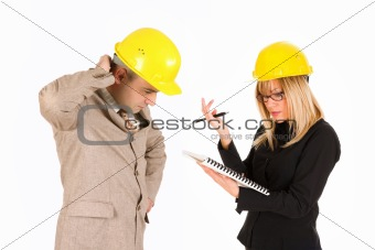 angry businesswoman and architect