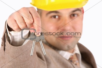 A businessman with keys