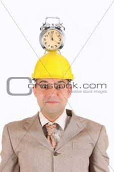 businessman clock alarm on his head