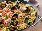 Seafood Paella in a Paella Pan