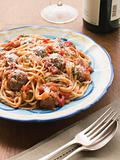 Spaghetti Meatballs in Tomato sauce with Parmesan