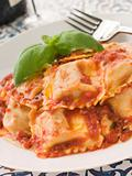 Veal and Sage Ravioli with Tomato and Basil Sauce