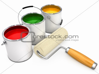 buckets with paint and new roller for painting isolated