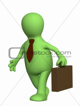 Puppet - businessman with a portfolio and in a tie