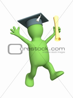 Happy 3d puppet the received diploma