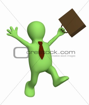 Happy puppet - businessman with a portfolio