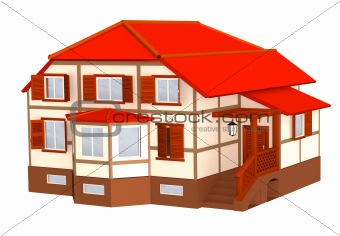 3d cottage with a roof of red color