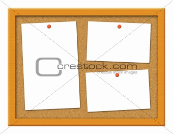 Cork Board with Crooked Notes Illustration