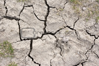 Close up picture of cracked dried soil