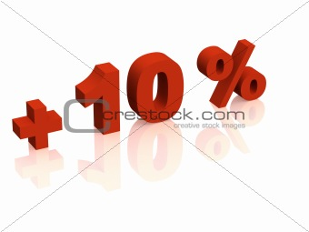 Red 3d inscription - plus of ten percent