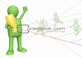 3d puppet - sportsman, holding in hands a cup