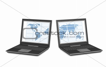 Two laptops with a map of the world on screens