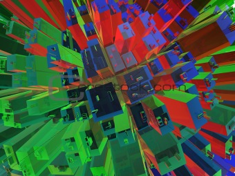 Background - abstract city with high glass buildings