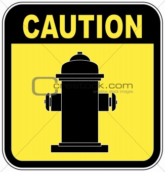 caution fire hydrant sign