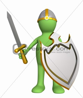 Knight - puppet in an armour, with a board