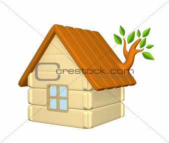 3d harmless house with an evolved branch on a roof