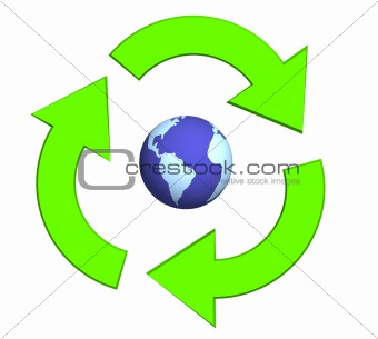 Ecological symbol -  Earth surrounded with green pointers