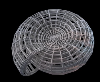 Abstract 3d spiral shell from a steel grid