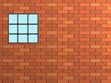 Brick wall with a window, closed by a lattice