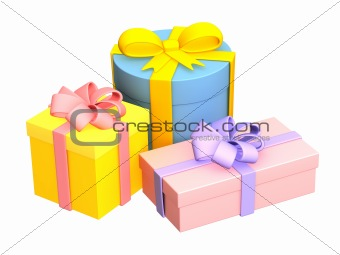 Three bright boxes with the gifts, fastened by tapes