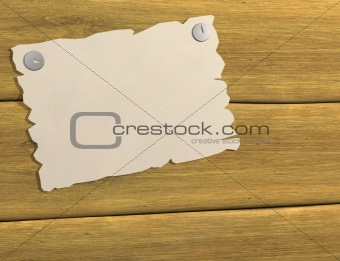 3d sheet of a paper, attached by buttons to board