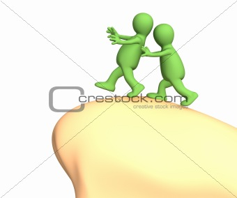 3d puppet, pushing partner to edge of a precipice