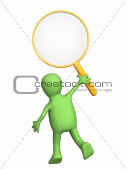 3d person - puppet, holding the big magnifier on the extended ha