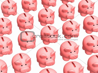 Background - lot of 3d pigs of the coin boxes