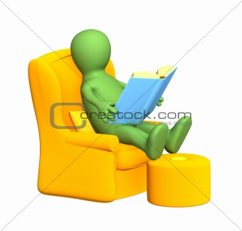 3d person - puppet, reading the book in a soft armchair