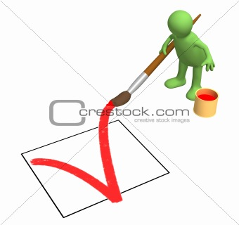 3d person - puppet, drawing in the document a tick
