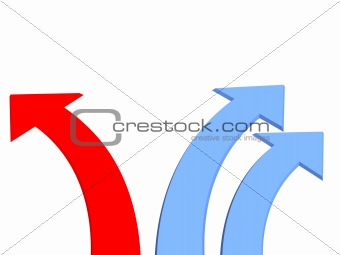 Three 3d arrows - two dark blue and one red