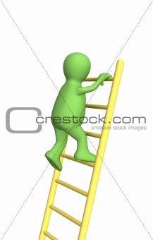 3d person - puppet, rising upwards on a ladder
