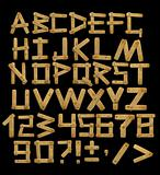 Alphabet - letters from  wooden boards with rivets