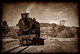 old steam train in grunge