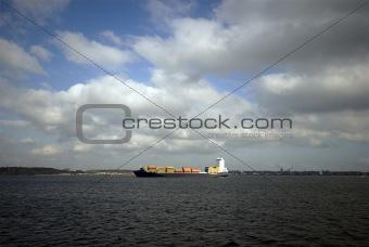 Cargo Boat at Sea
