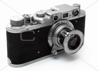 Vintage rangefinder camera over white with clipping path