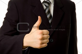Thumbs up. Businessman shownig everything is OK.