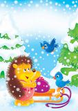 Hedgehog and birds in winter forest