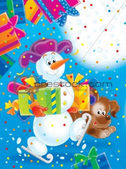Snowman and puppy with Christmas Gifts
