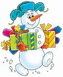 Snowman with Christmas Gifts