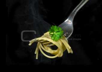 fork and spaghetti