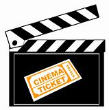 clapboard and cinema ticket