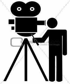 stick man with movie camera
